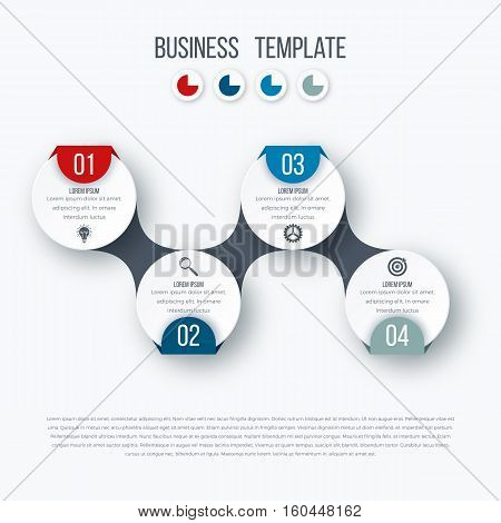 Infographics timeline template with realistic colorful circles for 4 steps and icons. Can be used for workflow layout, diagram, number options, step up options, web design, presentations