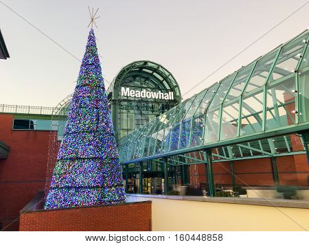 SHEFFIELD ENGLAND - NOVEMBER 29: Sheffield Meadowhall centre exterior with Christmas tree lit up. In Sheffield South Yorkshire England. On 29th November 2016.