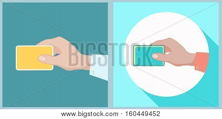 Hand holding credit card. Stock vector illustration. Flat style.