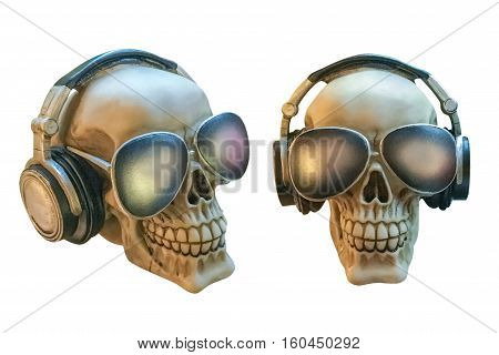 human skulls with glasses and headphones isolated on white background
