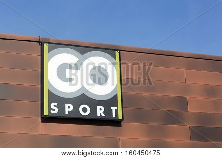 Rennes, France- October 30, 2015: Go sport logo on a facade. Go sport Group is an international french sporting goods retailer
