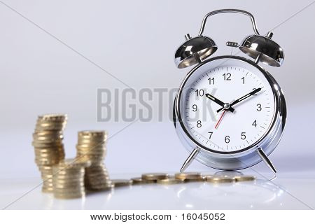 Time Is Money Silver Clock And Gold Pound Coins