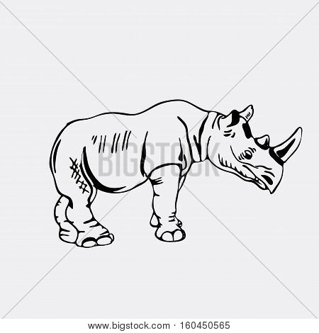 Hand-drawn pencil graphics, rhinoceros. Engraving, stencil style. Black and white logo, sign, emblem, symbol. Stamp, seal. Simple illustration. Sketch.
