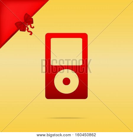 Portable Music Device. Cristmas Design Red Icon On Gold Backgrou