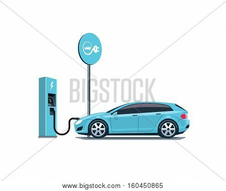Flat vector illustration of a blue electric car charging at the charger station with road sign. Electromobility eco e-motion concept. Isolated electric car refueling on white background.
