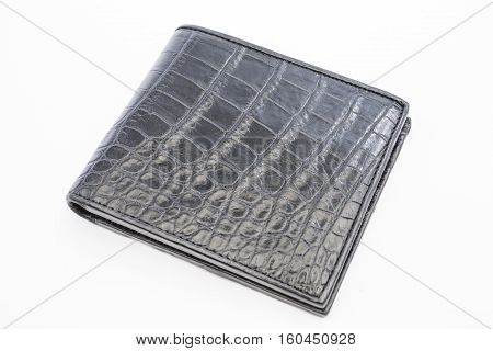 Crocodile skin black color leather texture background,genuine crocodile leather pattern