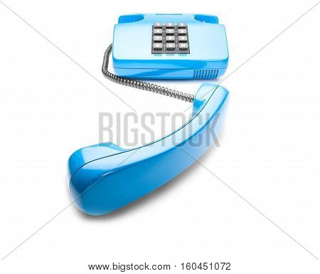 blue landline phone on isolated background with shadow