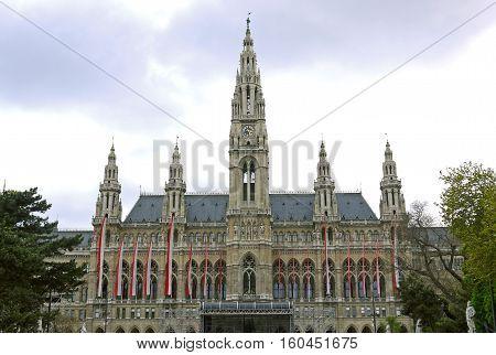 Beautiful view of The Vienna City Hall, Vienna. AUSTRIA.