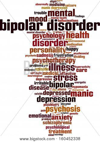 Bipolar disorder word cloud concept. Vector illustration