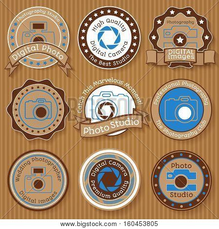 Set of vintage photo badges on paperboard background vector illustration