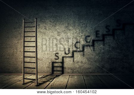 Creative idea concept with ladder in a dark room casting a shadow in a staircase shape as an infinite rise. Business aspirations ambitions and success. Magical transformation.
