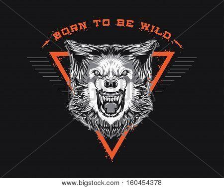 Wolf Born to be wild Illustration Print T-shirt Design Tattoo