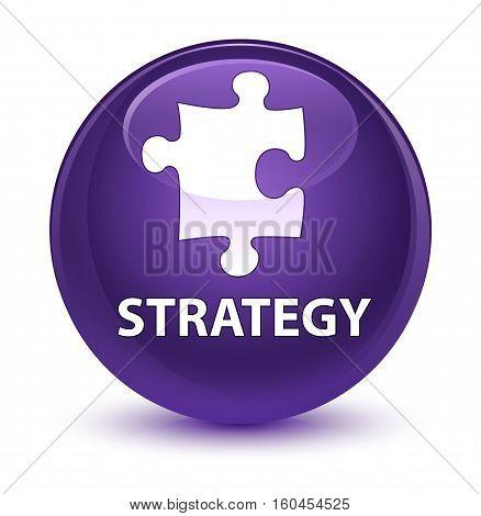 Strategy (puzzle Icon) Glassy Purple Round Button