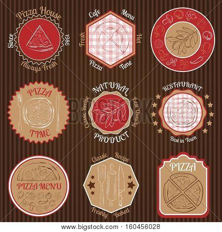 Set of pizza restaurant  badges on paperboard background vector illustration