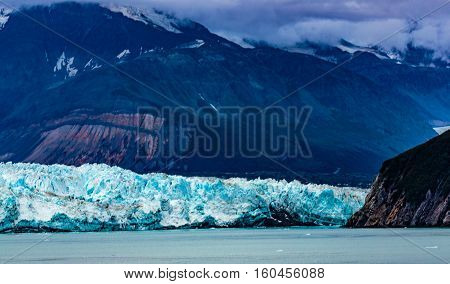 Hubbard Glacier, Alaska, USA - Sept. 11, 2016: This tidewater glacier is located in eastern Alaska and is part of Yukon Canada, off the coast of Yakutat--200 miles NW of Juneau Alaska. it is more than six miles wide where it meets the ocean.