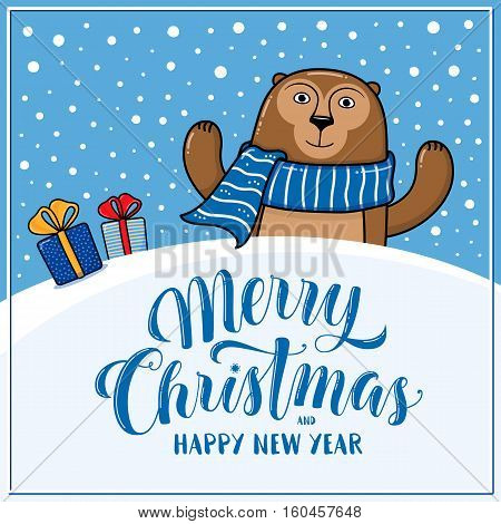 Merry Christmas and Happy New Year greeting card with monkey, gifts, snow hills and lettering, cartoon vector illustration. Christmas and New Year card, invitation, poster, banner design with monkey