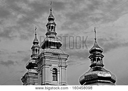 Holy Transfiguration Cathedral in Vinnytsia, Ukraine (black and white)