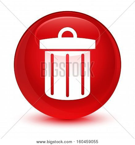 Recycle Bin Icon Glassy Red Round Button