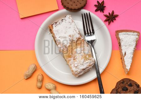 Apple Strudel On White Plate