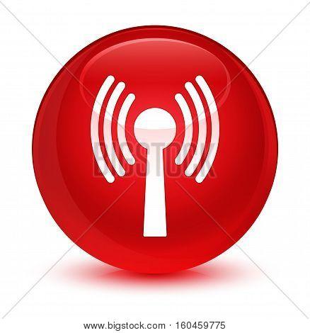 Wlan Network Icon Glassy Red Round Button