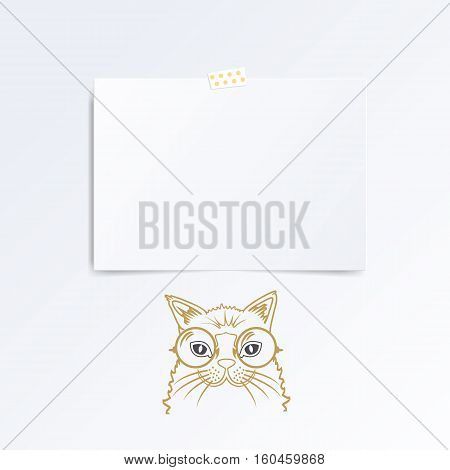 Leaflet folded in half isolated on white background, hand drawn cat under it.