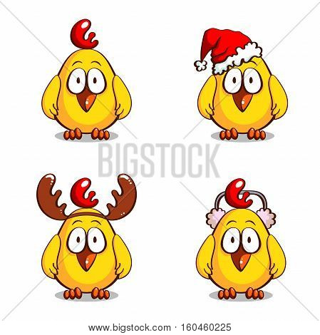Collection of christmas personages. Various funny cartoon chicks isolated on white background. Vector illustration. Can be used for design of greeting cards, invitations, leaflets and banners