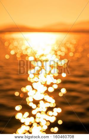 Blurred Image of Beautiful Sun Reflection on Sea Waves at Sunset Intentionally Out of Focus for Background use...