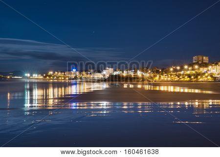 Santander bay at night Cantabria Spain .