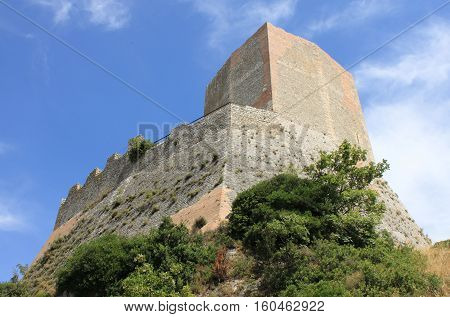 Tower of Tintinnano in Castiglione d'Orcia. Tuscany, Italy