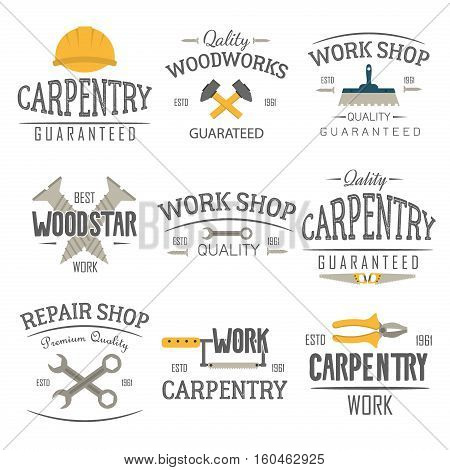 Set of carpentry service sawmill and woodwork labels isolated. Stamps carpentry logo banners and design elements. Wood work and manufacture label templates. Construction tool logo vector set.