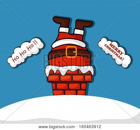 Vector illustration of Cartoon santa claus in chimney