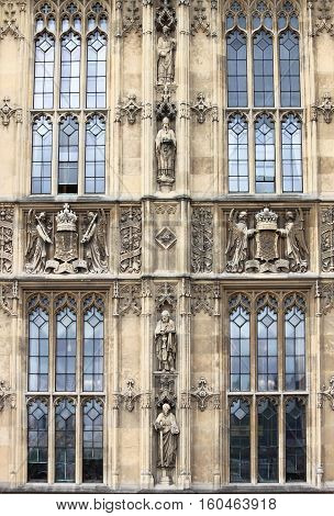 Bas-reliefs in Westminster Palace. London, United Kingdom