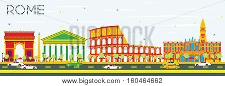 Rome Skyline with Color Buildings and Blue Sky. Vector Illustration. Business Travel and Tourism Concept with Historic Architecture. Image for Presentation Banner Placard