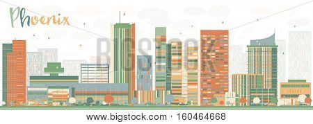 Abstract Phoenix Skyline with Color Buildings. Vector Illustration. Business Travel and Tourism Concept with Modern Architecture. Image for Presentation Banner Placard and Web Site.