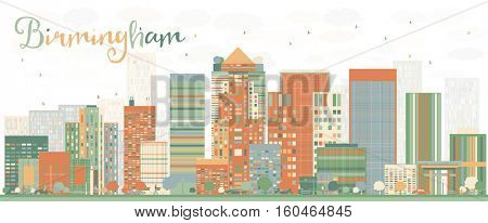 Abstract Birmingham Skyline with Color Buildings. Vector Illustration. Business Travel and Tourism Concept with Modern Architecture. Image for Presentation Banner Placard and Web Site