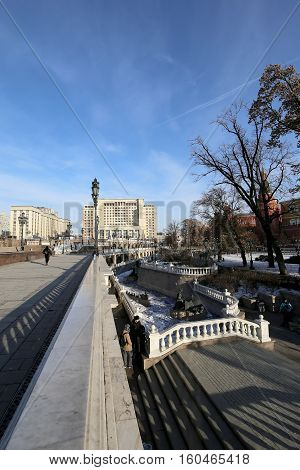 Moscow, Russia - November 21, 2016: Beautiful Alexander Garden Near The Ancient Kremlin (winter),  M