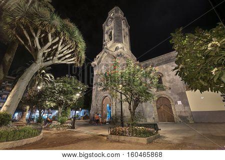 PUERTO DE LA CRUZ SPAIN - AUGUST 15: Nuestra senora de la pena church at night on August 15 2016 in Puerto de la Cruz tenerife Spain.