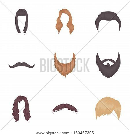 Beard set icons in cartoon style. Big collection of beard vector symbol stock