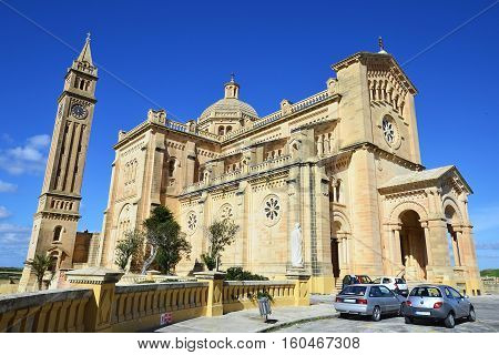 The Basilica of the National Shrine of the Blessed Virgin of Ta Pinu, Roman Catholic minor basilica and national shrine in the village of Gharb on the island of Gozo, the sister island of Malta