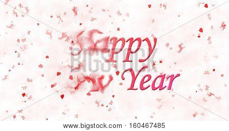 Happy New Year Text Turns To Dust From Left On White Background