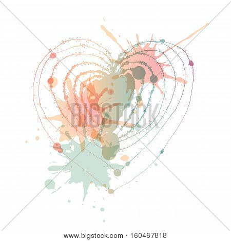 Vector heart with blots. Aquarelle blots. Valentines day. White background
