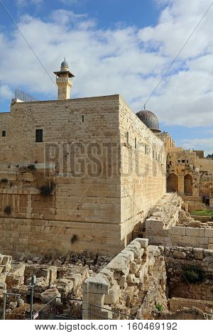 Jerusalem old city with Al-Aqsa Mosque and Temple Mount. Israel
