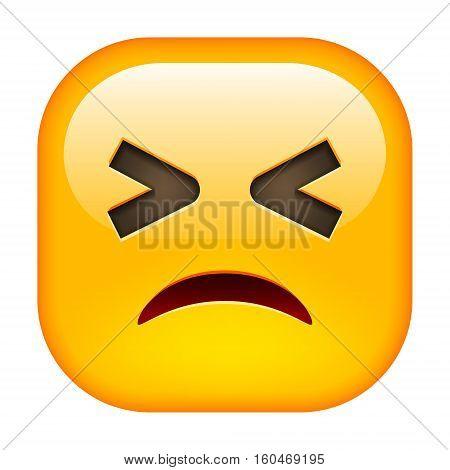 Winking Emoticon. Unhappy Square Yellow Smile. Vector Illustration