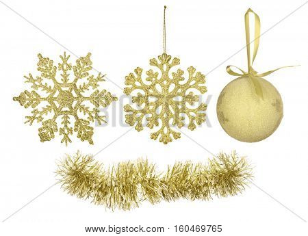 gold christmas tree decorations collection isolated on white background