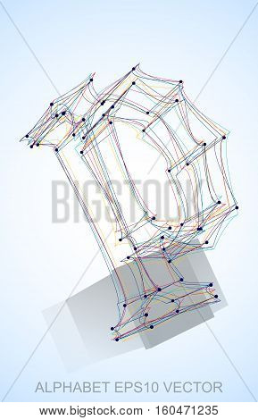 Abstract illustration of a Multicolor sketched P with Reflection. Hand drawn 3D P for your design. EPS 10 vector illustration.