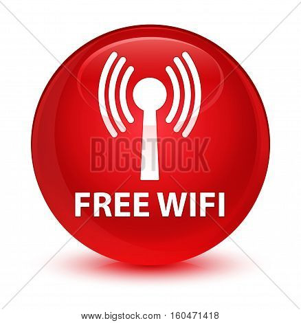 Free Wifi (wlan Network) Glassy Red Round Button
