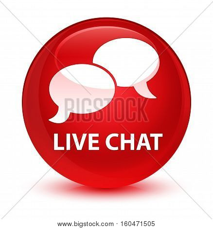 Live Chat Glassy Red Round Button