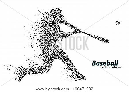silhouette of a baseball player from triangle. Text on a separate layer, color can be changed in one click