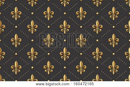 seamlessly tiling golden fleur-de-lis pattern on a dark background - perfect for luxury designs as wallpaper for gift wrapping or digital scrapbooking