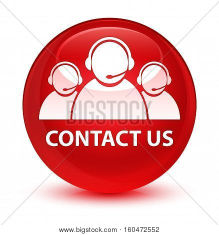 Contact Us (customer Care Team Icon) Glassy Red Round Button